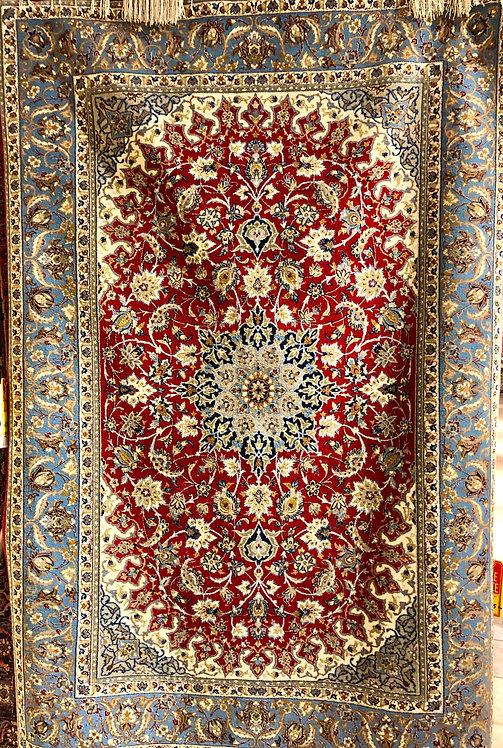"""3'7""""X5'4"""" Silk Persian Ispahan"""