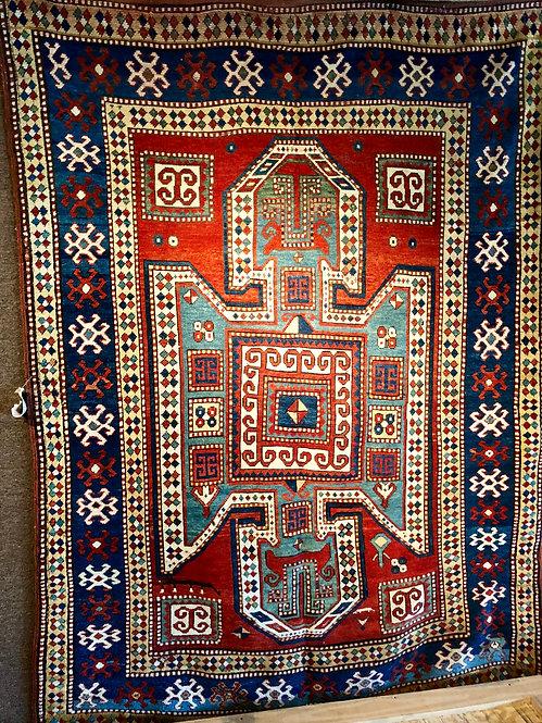 """5'x6'11"""" Antique Sewan Shield Kazak"""