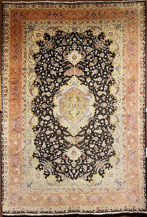 "6'7""X9'8"" Very Fine Silk & Wool Persian Tabriz"