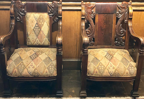 Antique King & Queen Wood Chairs