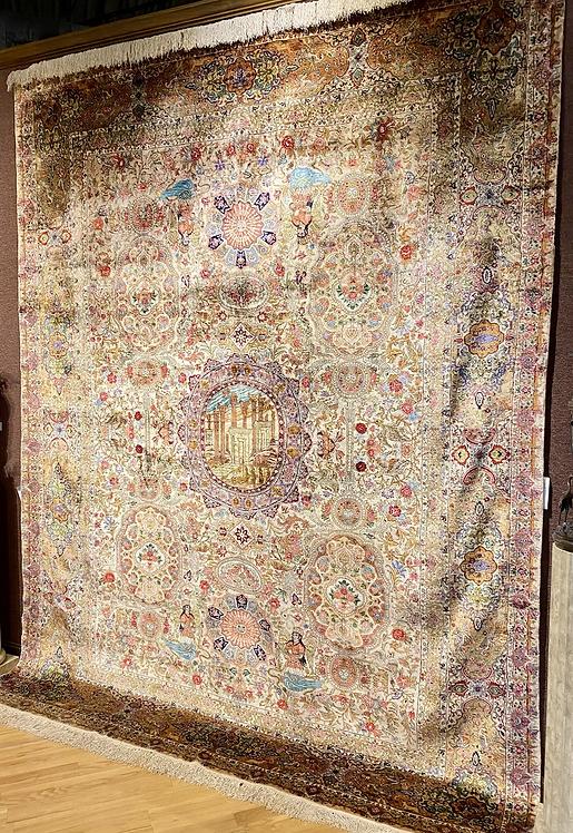 """9'9""""X12'9"""" Very Fine Silk Persian Tabriz"""