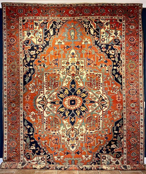 """9'7"""" X 12'9"""" Antique Persian Serapi"""