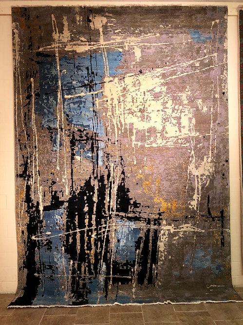 "10'X14' Silk and Wool ""Drip Art"" Contemporary Rug"