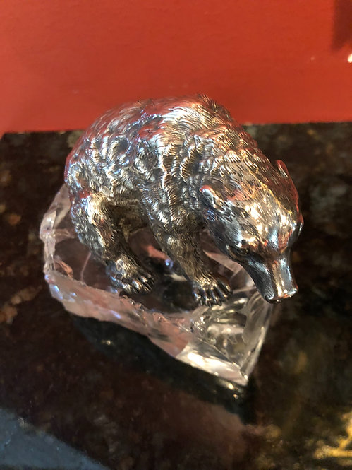 Antique Russian Silver Bear Sitting With Rock Crystal Base