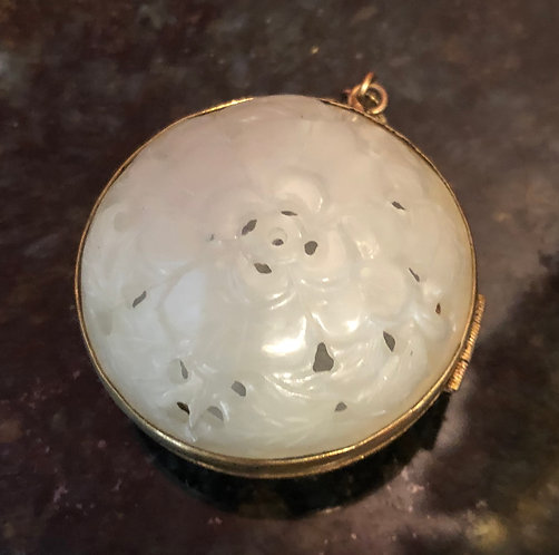 Antique White Jadeite with Gold Mounts Reticulated Locket