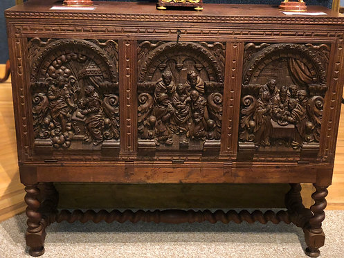 18th Century German Relief Religious Chest