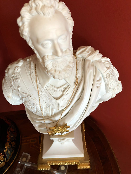 Antique French Sevres Porcelain Bust of King Henry with Gilt Mounts