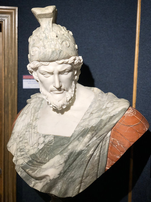 Carved Marble Bust of King Leonidas