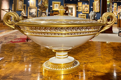 Antique Sevres White and Gold Porcelain Bowl With Lid