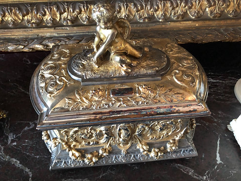 Antique French Silver Gilt Cherub High Relief Casket