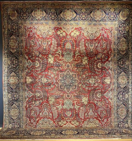 """14'X15'4"""" Semi-Antique Persian Kerman"""