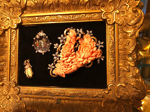 Antiques (Cartier-Jacques Marcus-Coral Diamond, Platinum Broach