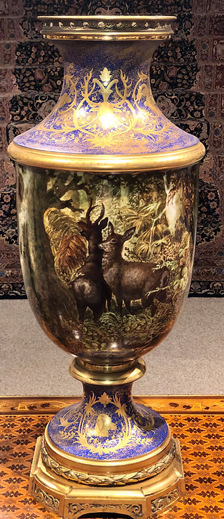 Antique Lodbe Vase, English Mid 19th Century Porcelain with Bronze Mounts