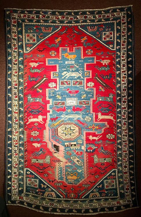 """7'8""""X5' Antique Red Kazak"""