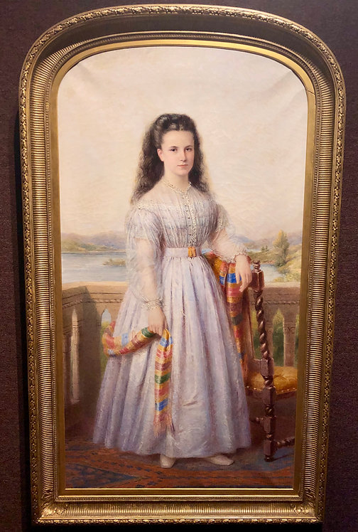 Antique Very Large Size Portrait of an English Girl