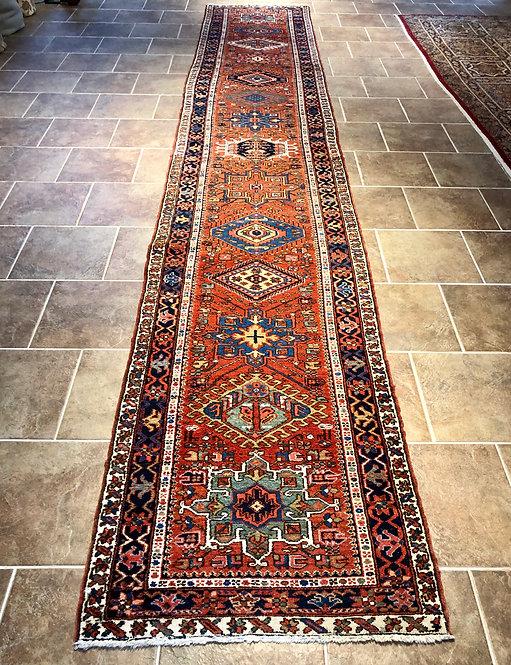 3.4x18.6 Semi-Antique Rust Persian Karaja Runner