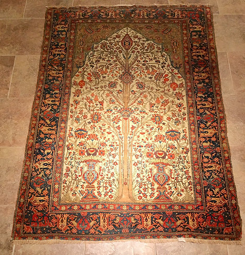 Antique Mohtasham Kashan Prayer Rug