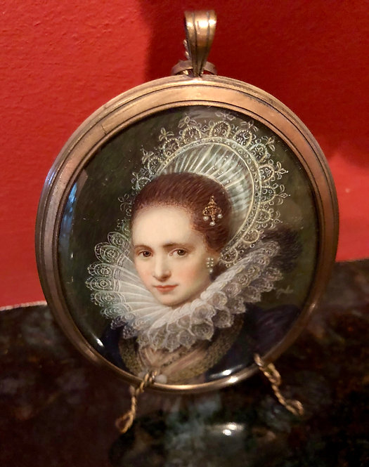Antique Miniature Portrait, Signed 1740