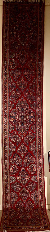 """2'4""""x15'9"""" Semi-Antique Persian Sarouk"""