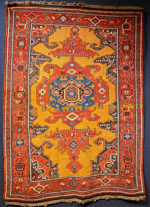 "4'5""X6' Antique Caucasian Kuba Rug"