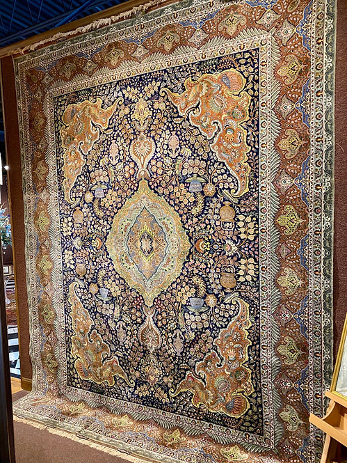 "9'11""X12'11"" Very Fine Silk Warp Signed Persian Tabriz"
