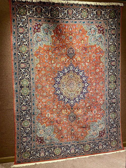 "8'8""X12'3"" Very Fine Silk & Wool Signed Persian Tabriz"