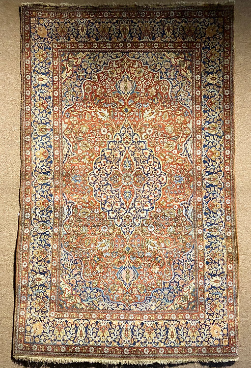 "4'3""X6'10"" Antique Persian Mohtasham Kashan"
