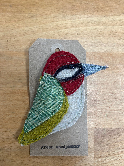 Hand made Green Felt Woodpecker Brooch