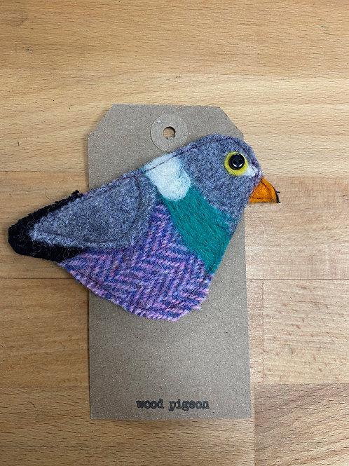 Hand made Felt Wood Pigeon Brooch