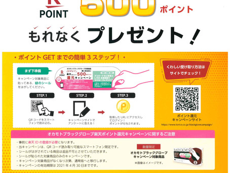 楽天P・500ポイントプレゼント!!