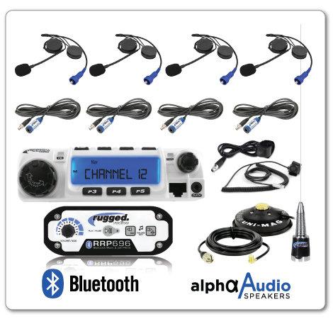 4-Place Intercom with 60 Watt Radio and Alpha Audio Helmet Kits