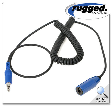 Coiled Offroad Headset to Intercom Extension Cable