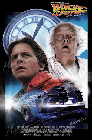 Back To The Future Poster traditionally painted