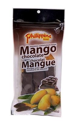 Mangostücke mit Schokolade im Beutel