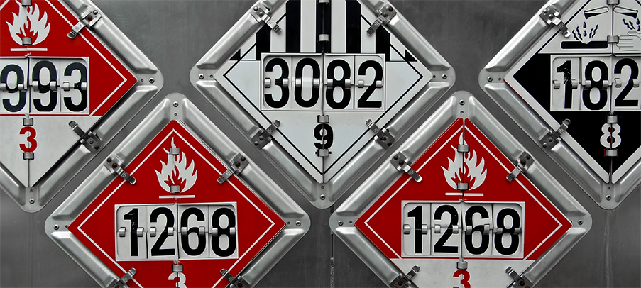 Hazmat labels for transportation of dangerous goods.