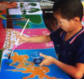 Burmese Migrant Student Painting Fabric
