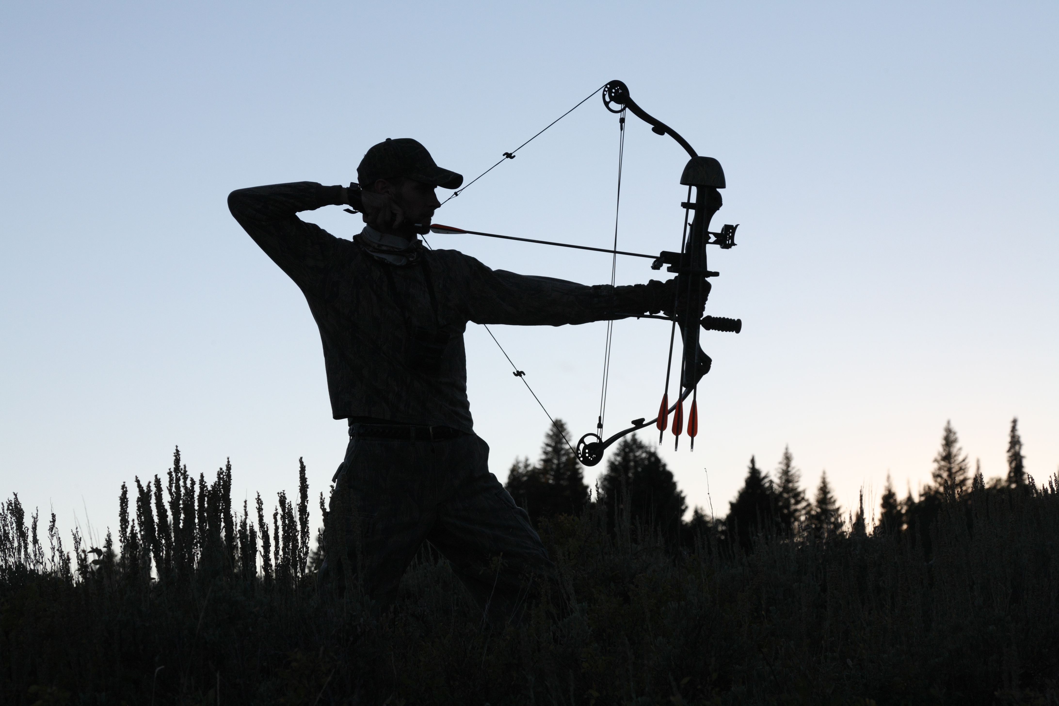 silhouette of American bow hunter drawin