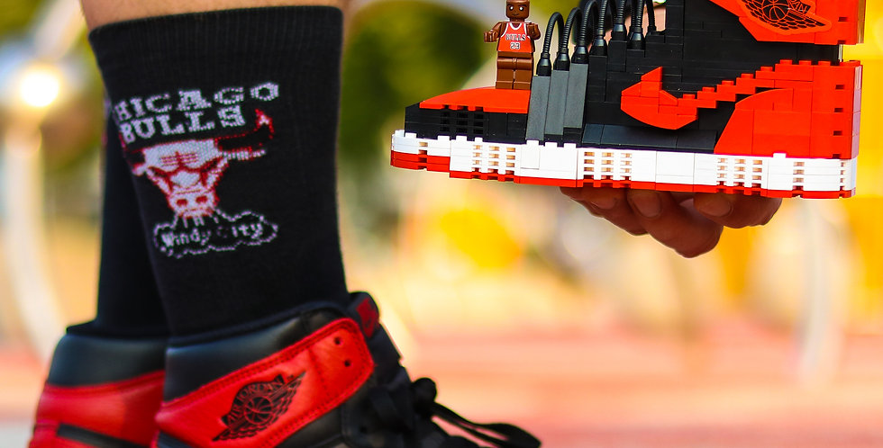 "Handcrafted  AJ1  ""Bred/Banned""  SneakerLEGO Set with Mini Jumpman"