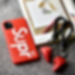 Supreme x LV 3D Textured iPhone Cases - Red / White