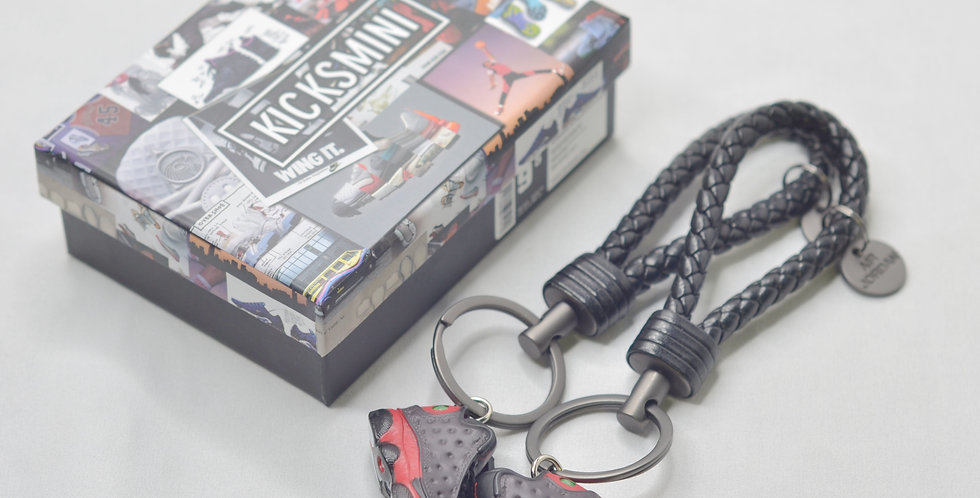 """Handcrafted  AJ13  """"Bred""""  3D Sneaker Keychain with Box/Bag"""