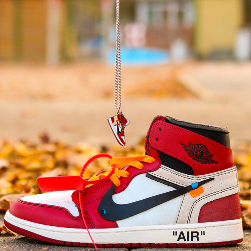 7684f278afa Handcrafted 2D Sneakers Necklace Off White Air Jordan