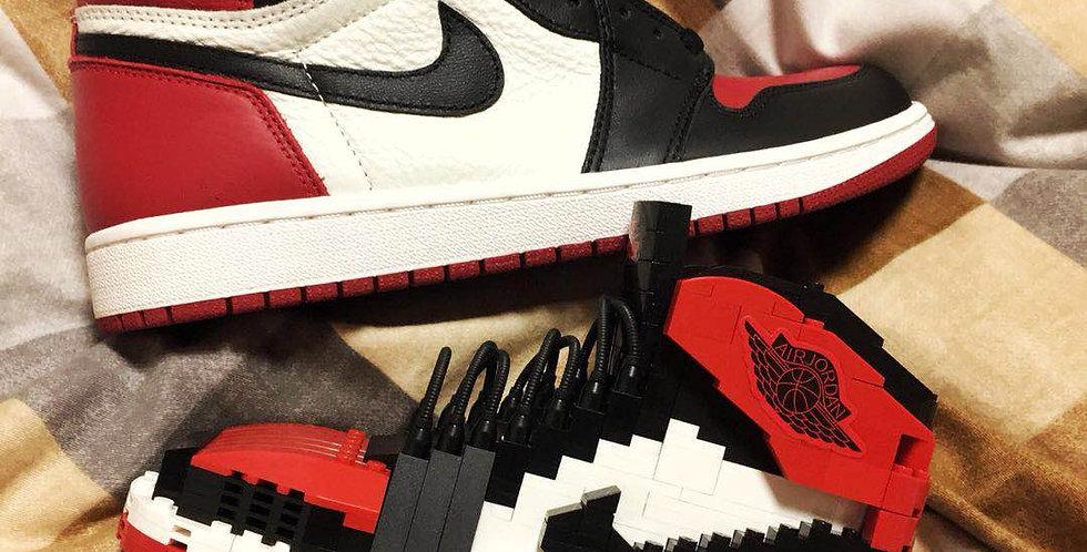 "Handcrafted  AJ1  ""Bred Toe""  SneakerLEGO Set with Mini Jumpman"