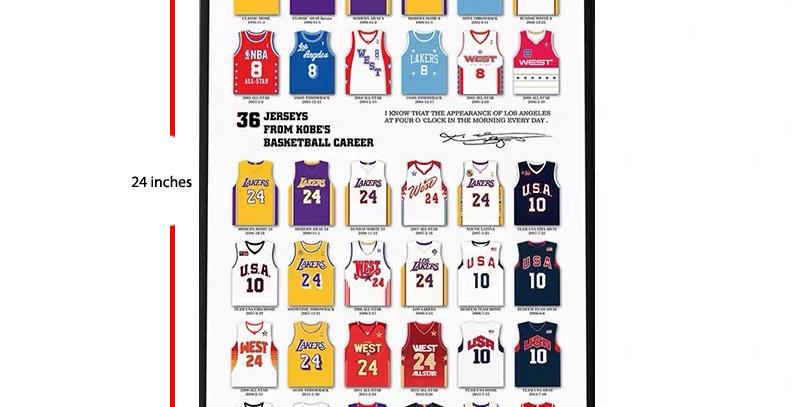 """Kobe 36 Jerseys Vinyl Poster 16 x 24"""" PER ORDER ITEM"""