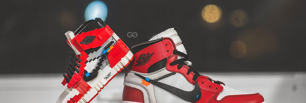 """Handcrafted  AJ1  """"OW Chicago""""  SneakerLEGO Set with Mini Jumpman"""