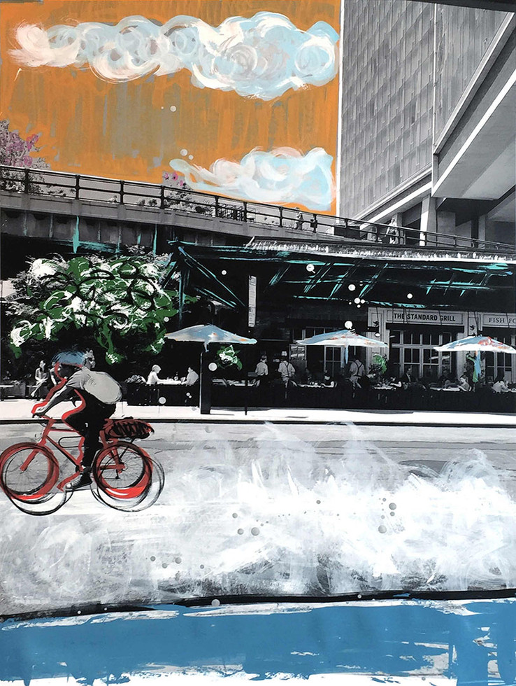 """STANDARD BICYCLE 2016 30""""X40"""" MIXED MEDIA ON PAPER"""