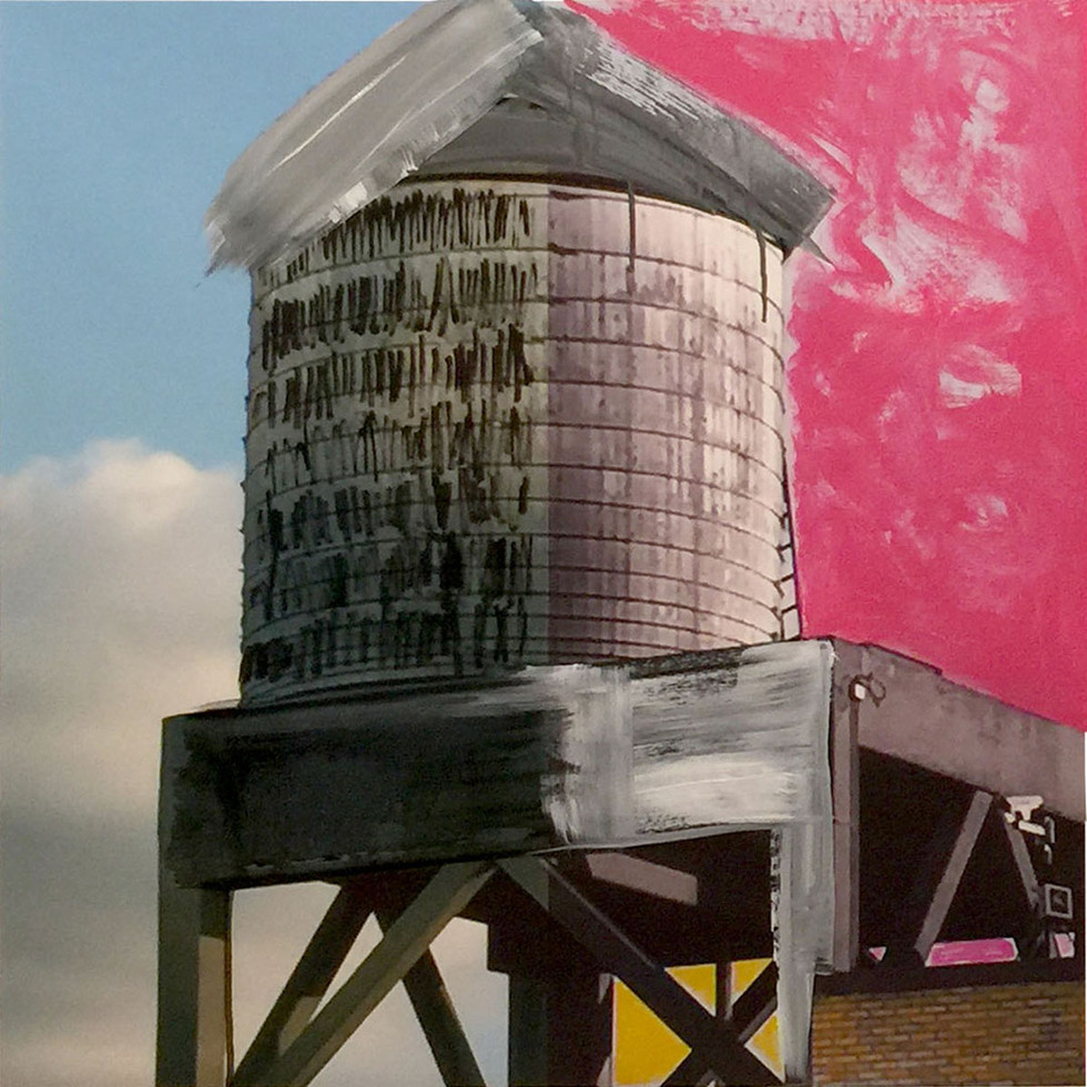 """HORATIO WATER TOWER 2017 30""""X30"""" MIXED MEDIA"""