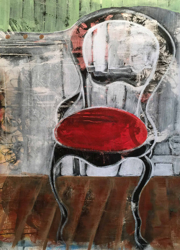 "RED CHAIR 2017 34""x48"" ACRYLIC"