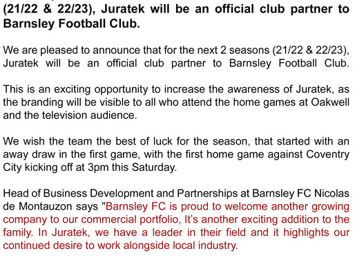 Juratek and The Reds Announce Commercial Partnership!
