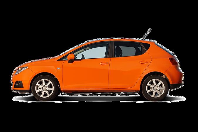 An orange passenger car