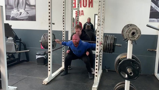 Connor B 250kg squat at the mock meet in Feb 2019